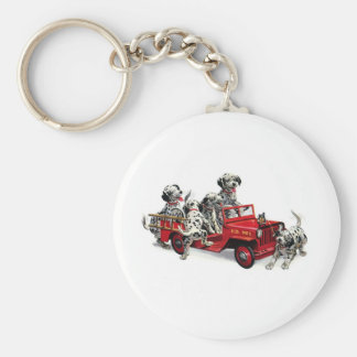 Dalmatian Pups with Fire Truck Basic Round Button Key Ring