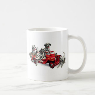 Dalmatian Pups with Fire Truck Coffee Mug