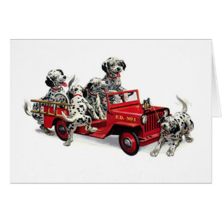 Dalmatian Pups with Fire Truck Greeting Card