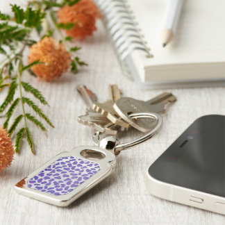 Dalmatian Purple and White Print Silver-Colored Rectangle Key Ring