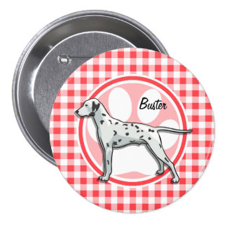 Dalmatian; Red and White Gingham 7.5 Cm Round Badge