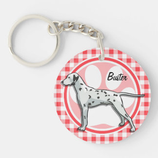 Dalmatian; Red and White Gingham Key Chain