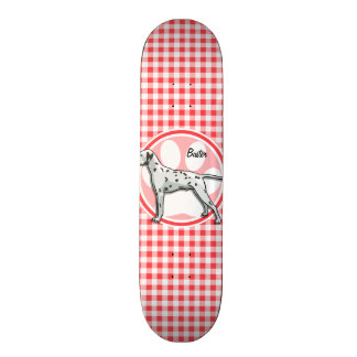 Dalmatian; Red and White Gingham Skateboards