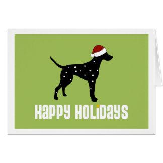 Dalmatian Santa Hat Card
