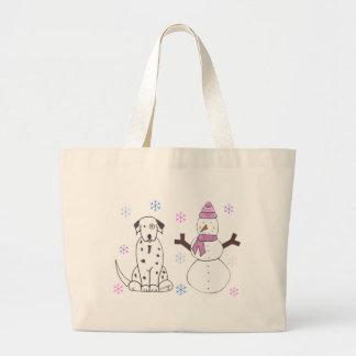 Dalmatian & Snowman Large Tote Bag