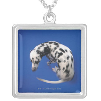Dalmatian spinning silver plated necklace