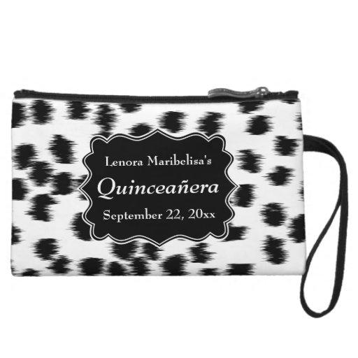 Dalmatian Spots Pattern Print Quinceanera Wristlet Purse
