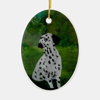 Dalmatian Spotty Dog Art Ceramic Oval Decoration