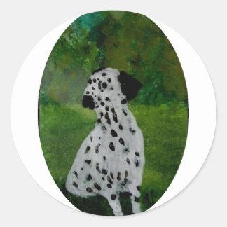 Dalmatian Spotty Dog Art Classic Round Sticker