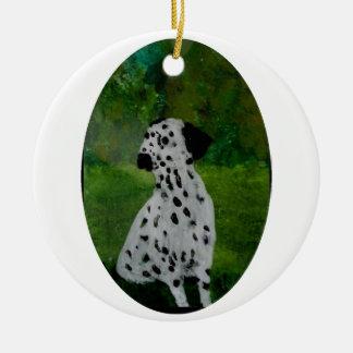 Dalmatian Spotty Dog Art Round Ceramic Decoration
