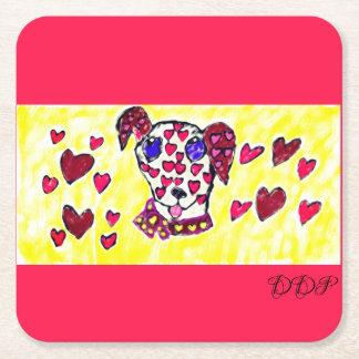 Dalmatian valentine 2 square paper coaster