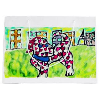 Dalmatian valentine large gift bag