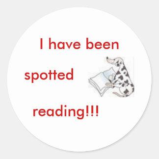 dalmatian with book classic round sticker