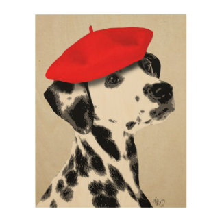 Dalmatian With Red Beret Wood Wall Decor