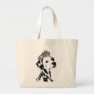 Dalmatian with Tiara 2 Large Tote Bag