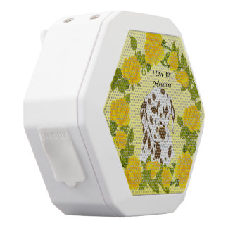 Dalmatian with Yellow Roses White Bluetooth Speaker