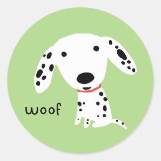 Dalmatian Woof Classic Round Sticker