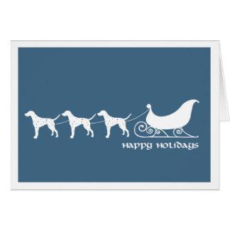 Dalmatians Pulling Santa's Sleigh Card