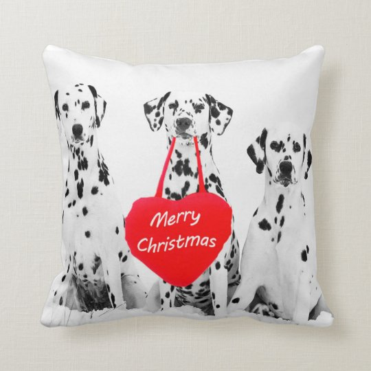 Dalmatians Wishing Merry Christmas pillow