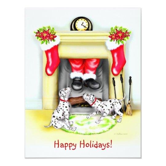 Dalmation Christmas Santa Drops In Card