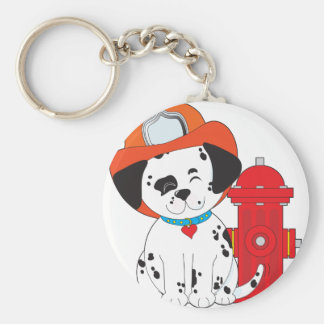 Dalmation Fire Dog Basic Round Button Key Ring