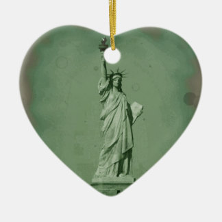 Damaged Photo Effect Statue of Liberty Christmas Ornaments