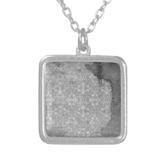 damaged silver paper background square pendant necklace