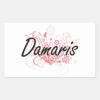Damaris Artistic Name Design with Flowers Rectangular Sticker