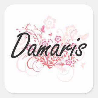 Damaris Artistic Name Design with Flowers Square Sticker