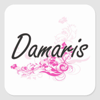 Damaris Artistic Name Design with Flowers Square Sticker