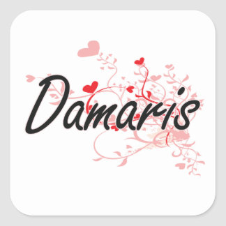 Damaris Artistic Name Design with Hearts Square Sticker