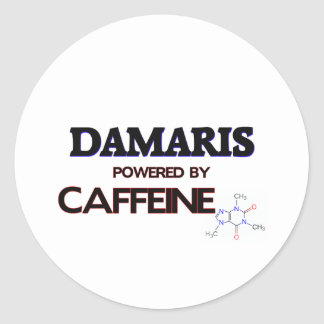 Damaris powered by caffeine round stickers
