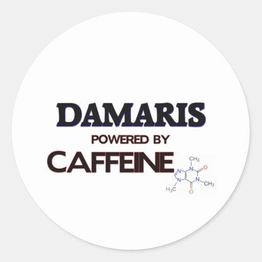 Damaris powered by caffeine round stickers