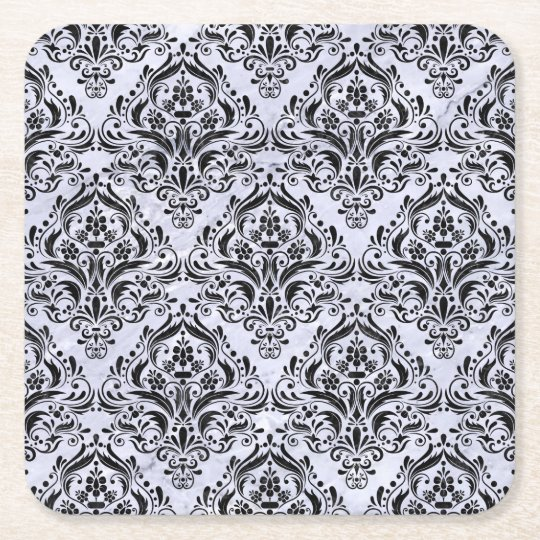 DAMASK1 BLACK MARBLE & WHITE MARBLE (R) SQUARE