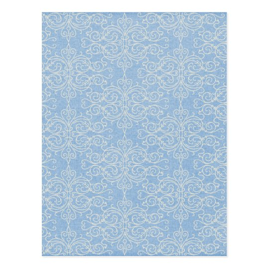 damask21 LIGHT BLUE WHITE DAMASK DECORATIVE SCROLL Postcard