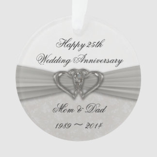 Damask 25th Wedding Anniversary Acrylic Ornament