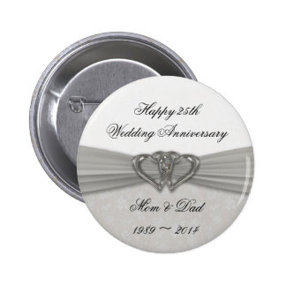 Damask 25th Wedding Anniversary Button