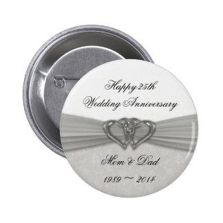 Damask 25th Wedding Anniversary Button