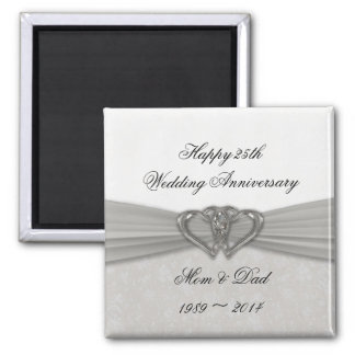 Damask 25th Wedding Anniversary Magnet