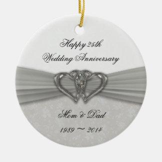 Damask 25th Wedding Anniversary Ornament