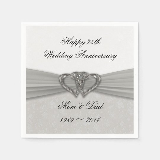 Damask 25th Wedding Anniversary Paper Napkins
