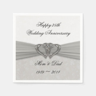 Damask 25th Wedding Anniversary Paper Napkins Disposable Serviette