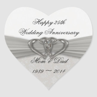 Damask 25th Wedding Anniversary Sticker
