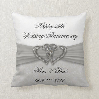 Damask 25th Wedding Anniversary Throw Pillow Throw Cushion