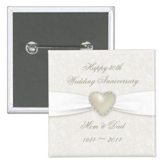 Damask 30th Wedding Anniversary Button