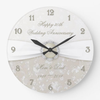 Damask 30th Wedding Anniversary Clock