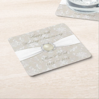 Damask 30th Wedding Anniversary Coaster Square Paper Coaster