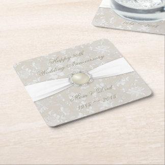 Damask 30th Wedding Anniversary Coaster Square Paper Coaster