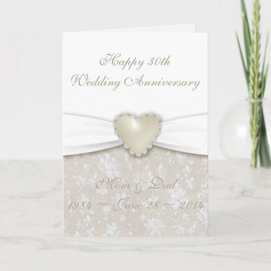 Damask 30th Wedding Anniversary Greeting Card Zazzle