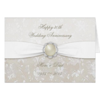 Damask 30th Wedding Anniversary Greeting Card